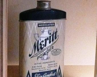 Vintage Tin Meritt Powder 1950's still full of product