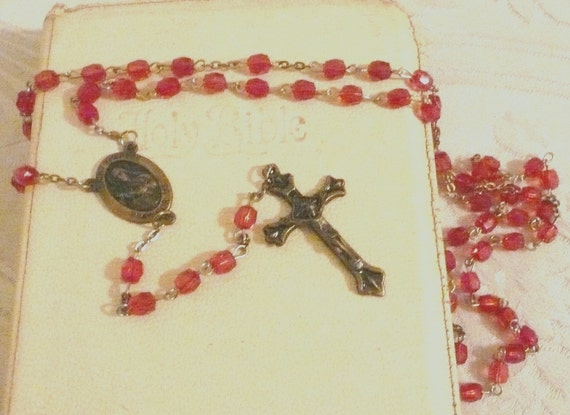 Vintage Red Rosary Beads with Cross and Saint Therese