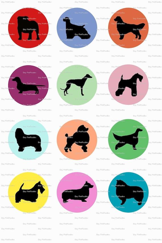 Rainbow Dog Sampler Choose Breed Bottle Cap or 1x1 Inch Squares 4 Digital Collage Image Sheets