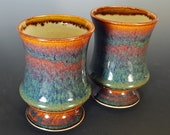RESERVED for KashyMunga - Pair of Tumblers in Mossy Mahogany, Nos. 707 and 708