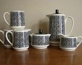 ON SALE - Vintage TEA or COFFEE SET - Carafe - Creamer and Sugar Bowl - 4 Mugs / Cups