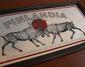 Vintage FINLANDIA VODKA Mirrored Bar Advertising Sign in Wooden Frame