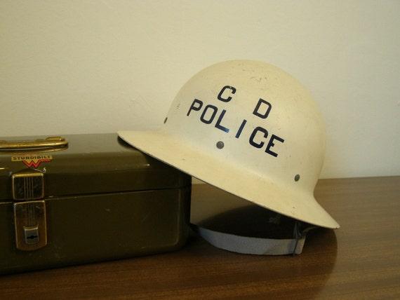 ON SALE - Vintage Police / Military Style Helmet