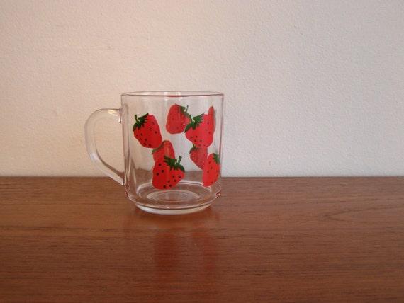 Vintage Glass Strawberry Mug