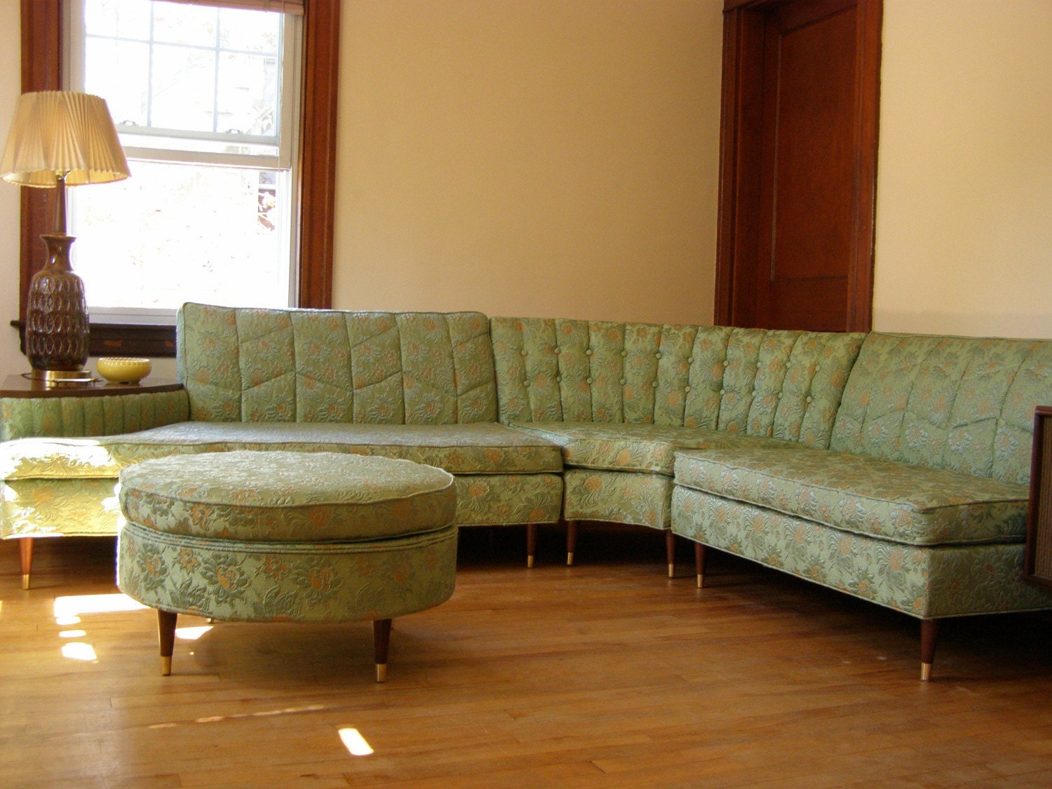 New years sale vintage sectional sofa with built in side for Mid century sectional sofa for sale