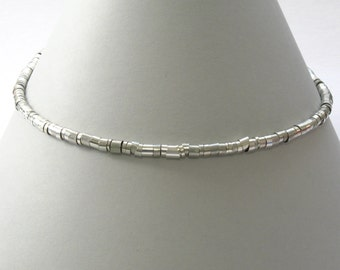 Circle of Rings Silver Necklace/ Silver Choker
