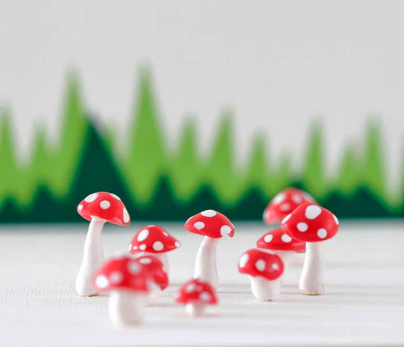 Set of ten red and white toadstools for terrariums, plants or cake toppers