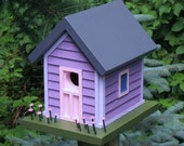 Birdhouse, Donette's Cottage with Purple Siding, Pink Flowers