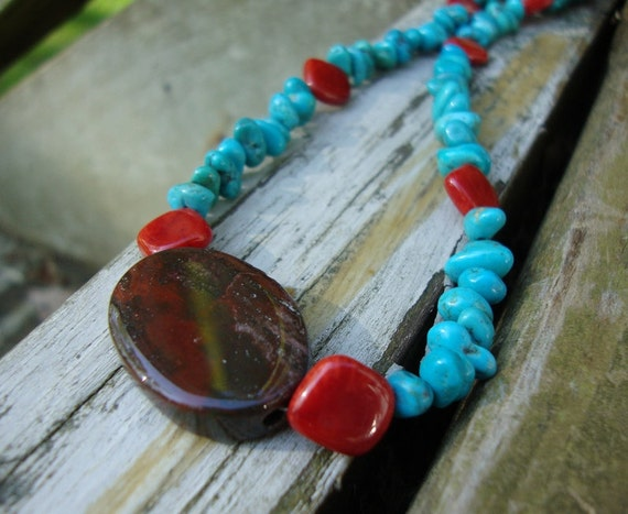 Red Coral , Turquoise Nugget  And Varigated Jasper Necklace