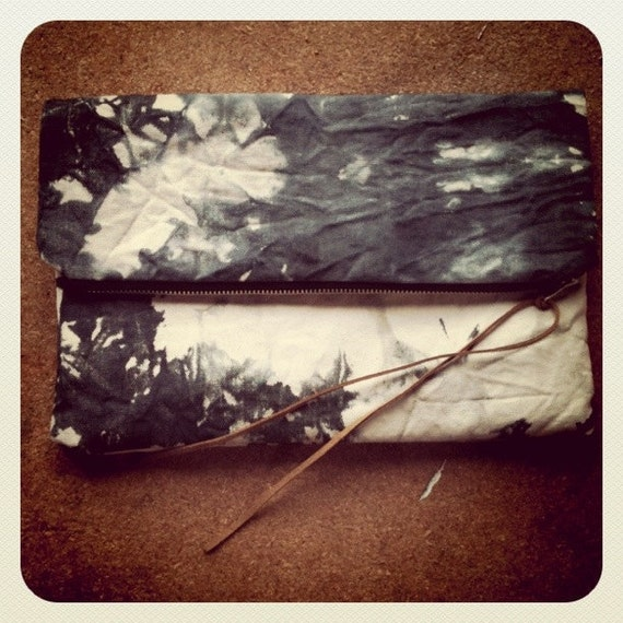 smoke clutch : organic, hand-dyed, oversize canvas clutch bag tie-dyed in black, charcoal and gray