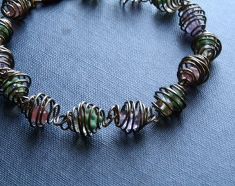 Wire Spiraled Beaded Bracelet