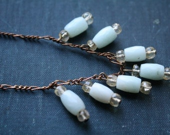 Pale Blue, Yellow and Antique Brass Necklace