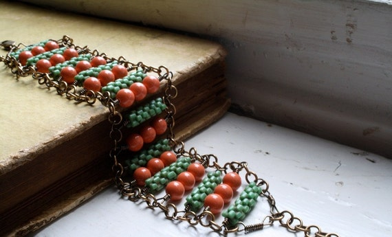 Turqouise and Orange Beaded Ladder Bracelet