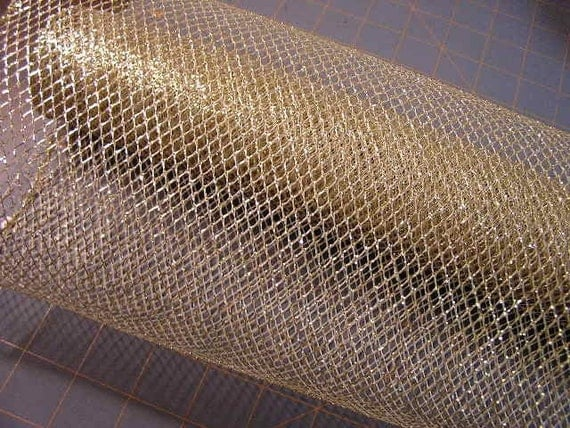 Gold Mesh Metallic Wired 18 Inches Wide Ribbon Fabric For