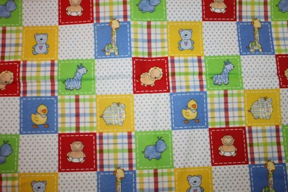 Flannel nursery zoo childrens fabric baby zoo animals by for Childrens animal fabric