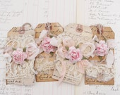 Vintage Lace and Rose Gift Tag Set