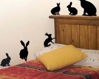 Rabbit Decals, Child's Room Decal, Kids RoomDecal, Boys Room Decals, (6 rabbits)
