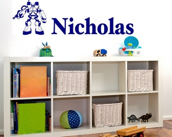Personalized Name with Robot Vinyl Wall Decal