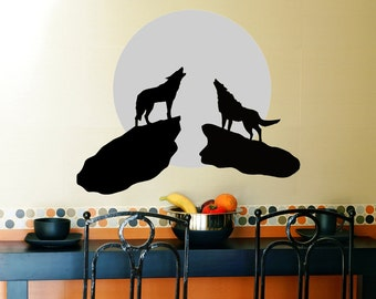 Wolf Vinyl Wall Decal, Howl, Coyote, Nature, Moonlight, Moon, Bark, Howling, Southwest, Animal, Den, Office, Living Room