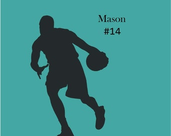 Personalized Dribbling Basketball Player Vinyl Wall Decal