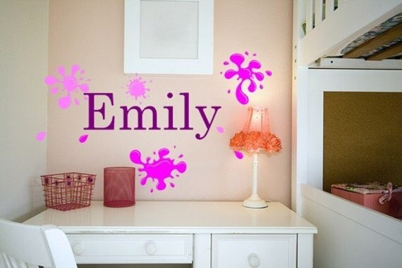 Personalized Name with Paint Splatter Vinyl Wall Decal