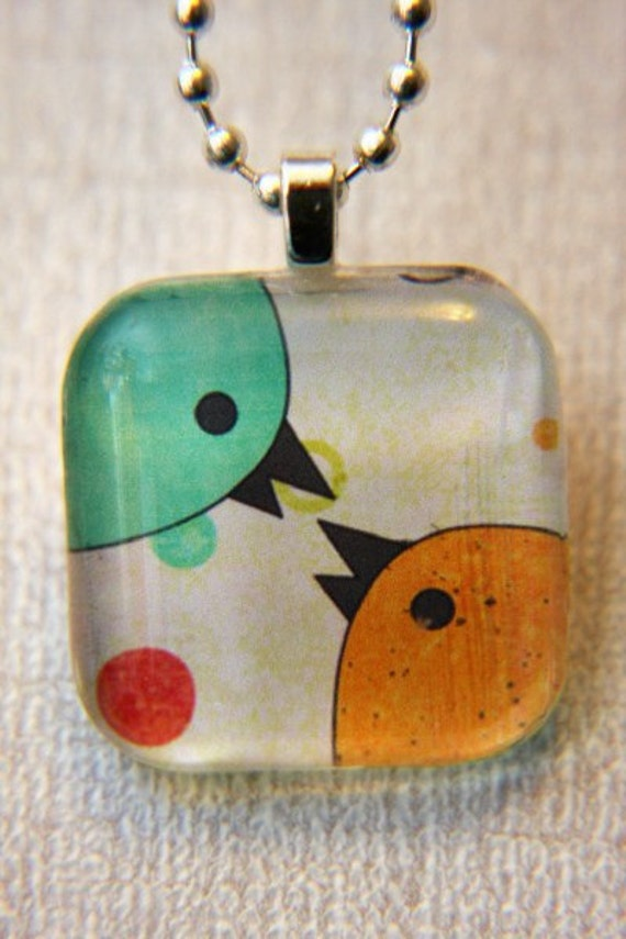 Love Birds- Jewelry Glass Tile Pendant Necklace with FREE CHAIN and Organza Gift Bag