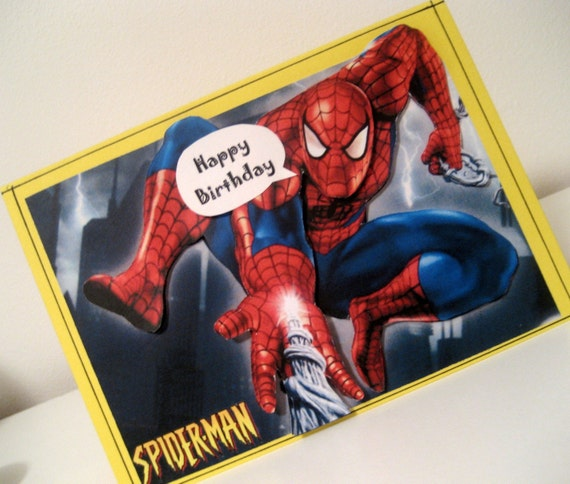 spiderman birthday card by ditzycreations on etsy, Birthday card