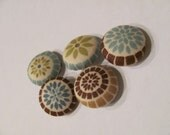 Mosaic floral fabric buttons 3/4 inch