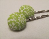 Green floral bobby pins