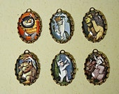 6 Pcs WHERE The WILD THINGS Are-Handmade Photo Charm Set-25X18mm Bezels-Maurice Sendak-Monster charms-Max Wild thing charms-story book charm