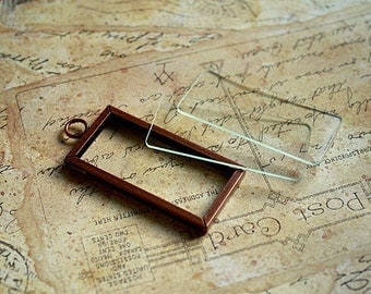 1X2 Antique COPPER MEMORY FRAME with 2pc Glass Kit-memory glass-diy glass kit-photo glass slide-microscope glass slides