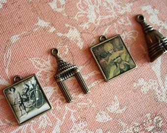 4 pcs Antique Brass BALI THEME CHARM Set-Asian charm set-oriental charm set-buddha charm-temple charm-thai charm-bali dancer