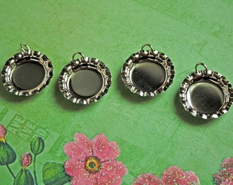 4 pcs  Bright Silver MINI BOTTLE Cap Bezels with Jumprings for DIY for Cabochons/Cabs, Photos, Clay and Resins-Round Silver Bezels