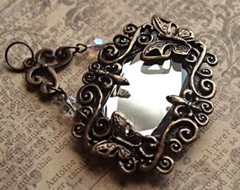 Antique Brass Scrolling BUTTERFLY FLEUR-DE-Lis Pendant w/Glass Mirror, Mirror Butterfly Pendant, Fleur De Lis Mirror Pendant