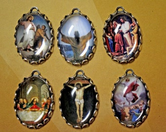 6 pcs LIFE OF CHRIST Charm set-Jesus Charms-Religious photo charms-Christ charms-Christian charms-Crucifix Charms-Baptism charms-God charm