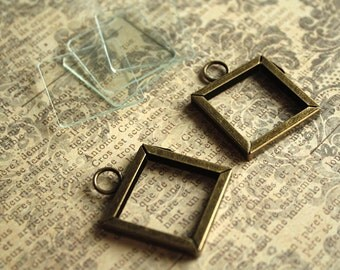 1 set-1x1in Square Antique BRASS MEMORY FRAMES with 4-piece Glass Diy Kit-Ilnchies-Diy Photo charms