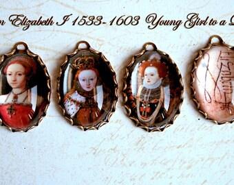 """4 Pcs QUEEN ELIZABETH I Handmade Photo Pendant/Charms """"Young Girl to Queen"""" 25X18MM-Tudor Family-British Queen-Queen Elizabeth Portrait"""