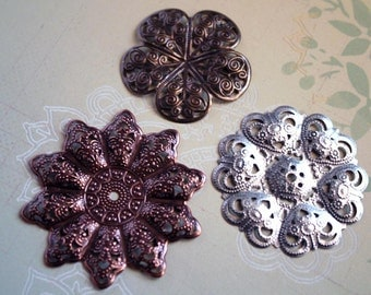 3 pcs Antique Brass-Copper and Silver FLORAL FILIGREE Findings-Filigree metal flowers-Copper flower base-Silver filigree flower