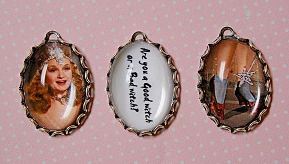 3 pc  WIZARD of OZ-GLINDA the Good Witch Handmade Photo Charm set-Ruby slippers-Witch-Fairy Queen-Wizard of Oz charms