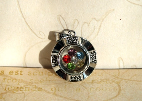 1 QTY//6 color Rhinestone SPINNING Silver Metal Pendant