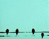 Birds on a wire mini 2 - original oil painting , abstract