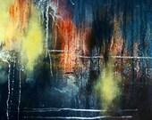 "Original Abstract Painting Dark Navy Blue Yellow 17x15"""