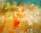 Autumn leaves falling - original abstract oil painting - SALE 50% OFF