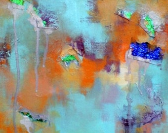 Abstract Original Oil Painting Mixed Media Metallic Orange Teal Turquoise