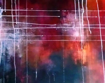 "Volcano 12 Original abstract painting, modern wall art 19x30"" UNSTRETCHED Rolled in a tube"