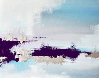 Frozen Lake 5 original  abstract  painting, winter landscape 16x20 inch