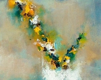 Original Abstract Painting Spring Flowers Impressionist Painting Yellow Flower Vase 7x9""