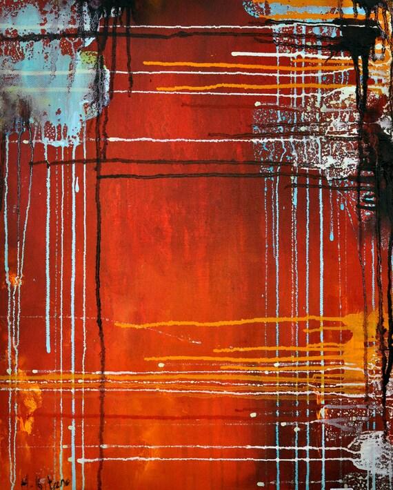 "Original Abstract Painting Dark Red Orange Rust, Abstract Rain 18x20"""