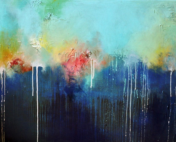 Winter Rain - original oil painting, large, one of a kind , 23x29 inch SALE 25% OFF