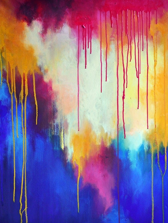 Rainbow  - original abstract oil painting - large 23x32 inch SALE 50% OFF
